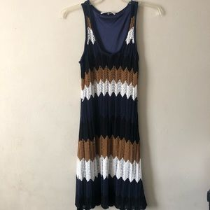 Trina Turk Navy Chevron Knit Dress M